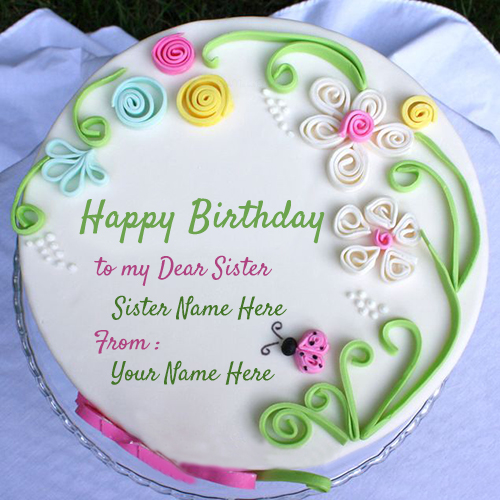 Sister Birthday Wishes Cake With Name