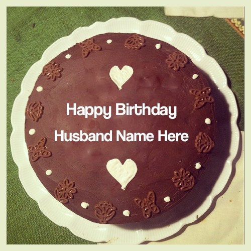 Happy Birthday Cake For Husband  With Name